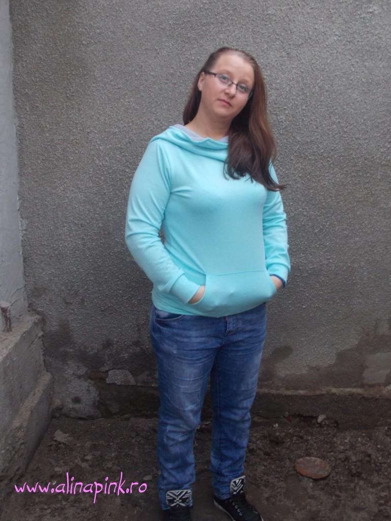 Blue Hooded Long Sleeve Slim Sweatshirt2