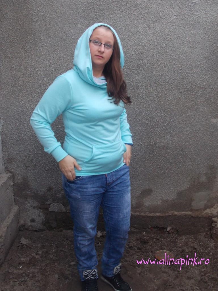 Blue Hooded Long Sleeve Slim Sweatshirt3