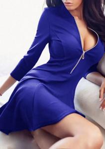 Women-V-Neck-Zipper-Bodycon-Dress-blue